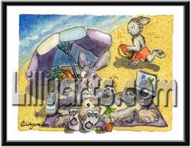 Bay Watch Bunny Rabbit Original Cartoon Mini Art Print | Other Files | Clip Art