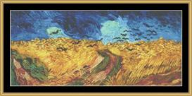Wheat Fields With Crows - Van Gogh | Crafting | Cross-Stitch | Wall Hangings