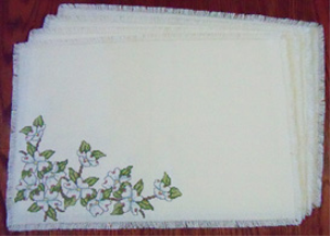 Dogwood Placemats | Crafting | Cross-Stitch | Floral