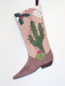 Christmas Cactus Cowboy Boot Stocking | Crafting | Cross-Stitch | Other