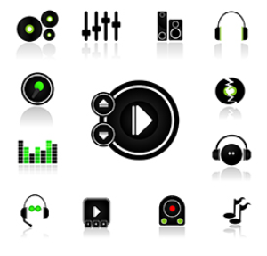 dj music player icons - vector+jpeg file