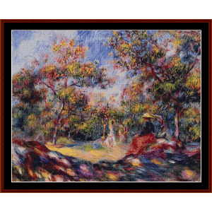 woman in a landscape - renoir cross stitch pattern by cross stitch collectibles