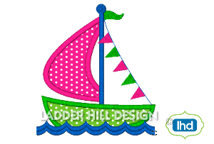 w008 sailboat applique with banner