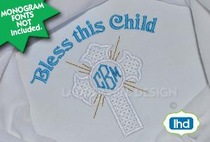 cross machine embroidery applique design - - monogram circle motif cross