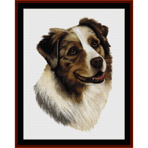 Australian Shepard - Robert J. May cross stitch pattern by Cross Stitch Collectibles | Crafting | Cross-Stitch | Wall Hangings