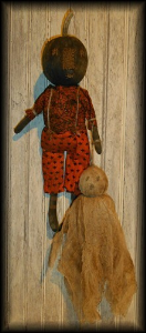 3500 primitive fall halloween black scarecrow and ghost doll e-pattern
