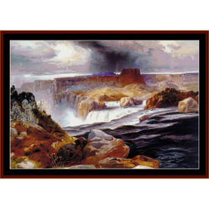 snake river falls - scenic cross stitch pattern by cross stitch collectibles