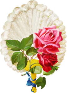 victorian red & pink roses feather fan transparent png
