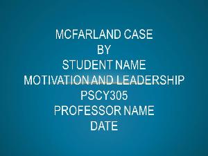 pscy305 mcfarland case