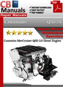 cummins mercruiser qsd 2.0 diesel engine  service repair manual