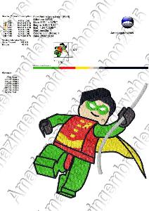 robin lego - embroidery design