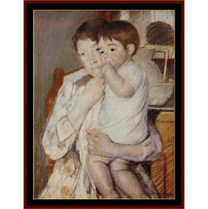 baby in mother's arms - cassatt cross stitch pattern by cross stitch collectibles