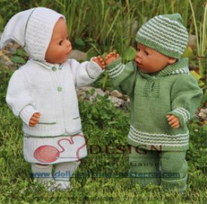 DollKnittingPatterns -0116D Mikkel/Mille -Suit, Shoes, Hat, Sweater with a hood, Summer dress for Mille, Pants, Cardigan, Headscarf, Socks, Summer Suit in green (English) | Crafting | Knitting | Baby and Child