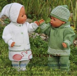 dollknittingpatterns -0116d mikkel-mille - anzug, schuhe, mütze, und hood für mikkel sommerkleid, unterhose, jäckchen, kopftuch und socken für mille (deutsch)