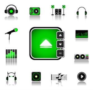 dj music icons - vector+jpeg file