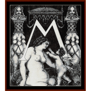 Initial M for Ben Jonson - Beadsley cross stitch pattern by Cross Stitch Collectibles | Crafting | Cross-Stitch | Wall Hangings
