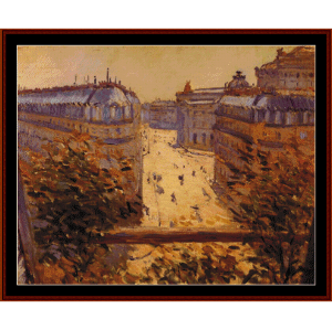 rue halevy, balcony - caillebotte cross stitch pattern by cross stitch collectibles