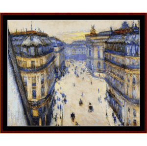 rue halevy, from 6th floor - caillebotte cross stitch pattern by cross stitch collectibles