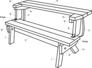 Folding Bench to Table Plans | eBooks | Arts and Crafts
