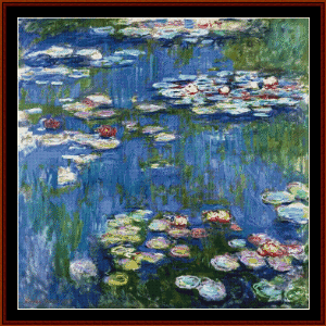 waterlilies, 1916 - monet cross stitch pattern by cross stitch collectibles