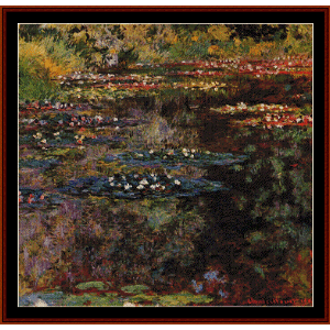waterlilies, 1904 - monet cross stitch pattern by cross stitch collectibles