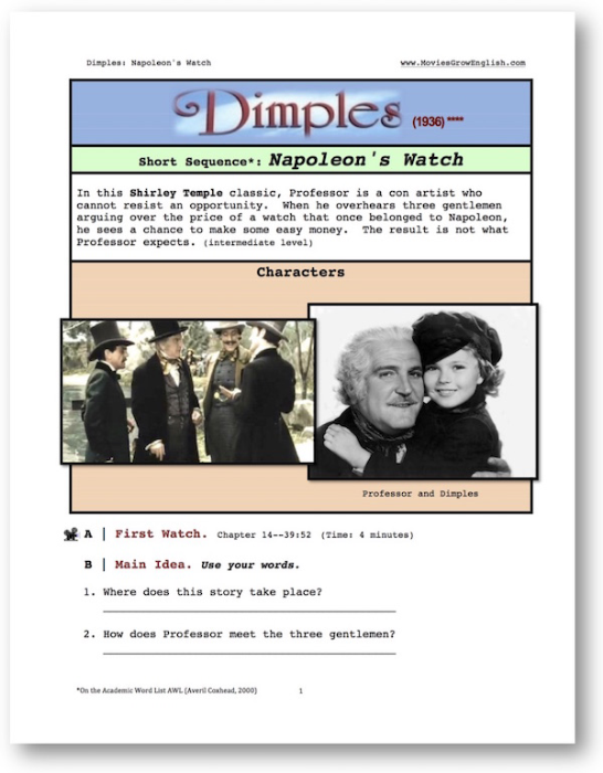 First Additional product image for - Dimples, NAPOLEON'S WATCH, Short-Sequence English (ESL) Lesson