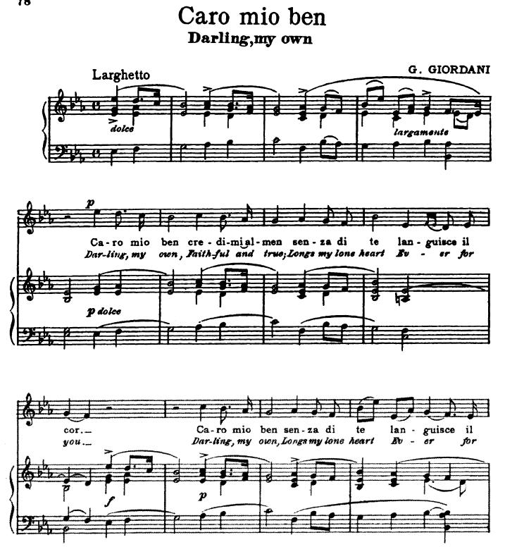 Caro mio ben Medium Voice in E Flat Major G. Giordani. For Soprano ...