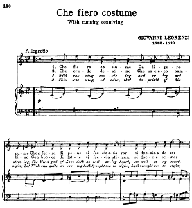 Che fiero costume, High Voice in A minor,  G. Legrenzi. For Soprano, Tenor. Song Classics, Edited by Horatio Parker. J. Church Publ. (1912) | eBooks | Sheet Music