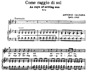 Come raggio di sol, High Voice in G minor, A. Caldara. For Soprano, Tenor. Song Classics, Edited by Horatio Parker. J. Church Publ. (1912) | eBooks | Sheet Music