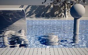 caustic swimming pool scene