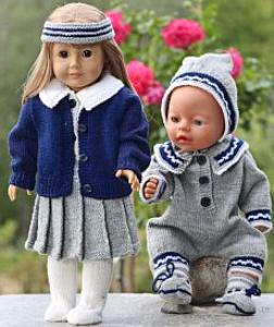 dollknittingpatterns -0117d grete - faltenrock, bluse, unterhose, cardigan, socken und haarband gretes schwester: anzug, mütze und socken (deutsch)