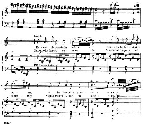 First Additional product image for - Ecco ridente in cielo  (Count). Aria for Tenor. G. Rossini: Il barbiere di Siviglia (The Barber of Seville), Vocal Score. Ed. Schirmer 1900 (PD). It-engl