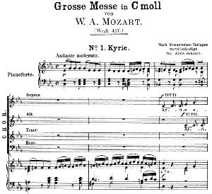 No.1: Kyrie Soprano Solo , Choir SATB, and Piano. Great Mass in C Minor, K. 427, W.A. Mozart. Vocal Score (Alois Schmitt) Ed. Breitkopf (1901). Latin | eBooks | Sheet Music