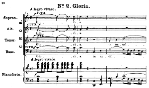 no.2 gloria: choir satb and piano. great mass in c minor k.427, w.a. mozart. vocal score (alois schmitt) ed. breitkopf (1901).  latin.