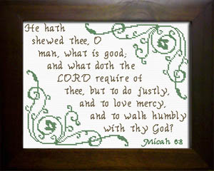 Doth The LORD Require | Crafting | Cross-Stitch | Religious