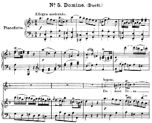 no.5 domine deus: duet soprano,mezzo and piano. great mass in c minor k.427, w.a. mozart. vocal score (alois schmitt) ed. breitkopf (1901). latin
