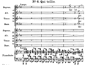 No.6 Qui tollis: Double Choir SATB and Piano. Great Mass in C Minor K.427, W.A. Mozart. Vocal Score (Alois Schmitt) Ed. Breitkopf (1901). Latin. | eBooks | Sheet Music