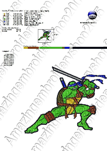 ninja turtles - embroidery design