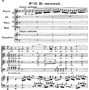 No.12 Et ressurexit: Choir SATB and Piano. Great Mass in C Minor K.427, W.A. Mozart. Vocal Score (Alois Schmitt) Ed. Breitkopf (1901). Latin. | eBooks | Sheet Music