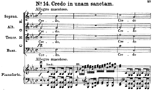 No.14 Credo in unam sanctam: Choir SATB and Piano. Great Mass in C Minor K.427, W.A. Mozart. Vocal Score (Alois Schmitt) Ed. Breitkopf (1901). Latin. | eBooks | Sheet Music
