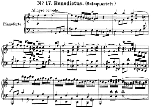 No.17 Benedictus: Solo Quartet SATB, Double Choir SATB and Piano. Great Mass in C Minor K.427, W.A. Mozart. Vocal Score (Alois Schmitt) Ed. Breitkopf (1901). Latin. | eBooks | Sheet Music