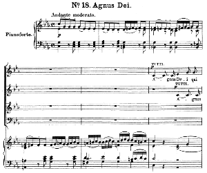 No.18 Agnus Dei: Soprano Solo, Choir SATB and Piano. Great Mass in C Minor K.427, W.A. Mozart. Vocal Score (Alois Schmitt) Ed. Breitkopf (1901). Latin. | eBooks | Sheet Music