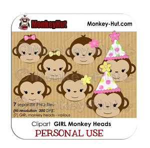 Monkey clip art clipart birthday GIRL heads pink yellow green | Other Files | Graphics