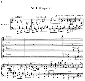 no.1 requiem aeternam: soprano solo, choir satb and piano. kyrie: choir satb andpiano. requiem k.626, w.a. mozart. vocal score (friedrich brissler), ed. peters (1895). latin