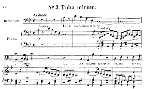 No.3 Tuba mirum: Solo quartet SATB and Piano. Requiem K.626, W.A. Mozart. Vocal Score (Friedrich Brissler), Ed. Peters (1895). Latin. | eBooks | Sheet Music