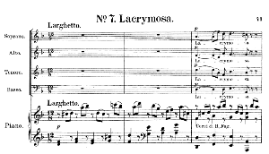 No.7 Lacrymosa: Choir SATB and Piano (Lacrimosa). Requiem K.626, W.A. Mozart. Vocal Score (Friedrich Brissler), Ed. Peters (1895). Latin. | eBooks | Sheet Music