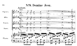 No.8 Domine Jesu: Choir SATB, Solo Quartet SATB and Piano. Requiem K.626, W.A. Mozart. Vocal Score (Friedrich Brissler), Ed. Peters (1895). Latin.   eBooks   Sheet Music