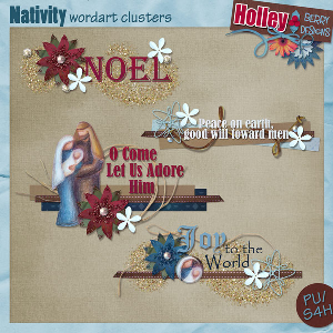 Nativity Wordart Clusters | Other Files | Scrapbooking