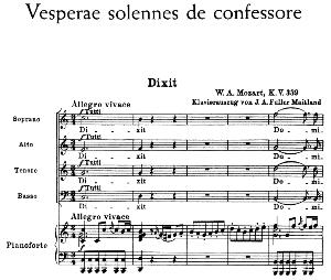 No.1 Dixit: Choir SATB and Piano. Vesperae solennes de confessore K.339, W.A. Mozart. Vocal Score (J.A. Fuller Maitland) Ed. Breitkopf (1896).  latin. | eBooks | Sheet Music