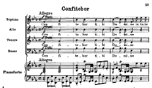 No.2 Confitebor: Solo Quartet SATB, Choir SATB and Piano. Vesperae solennes de confessore K.339, W.A. Mozart. Vocal Score (J.A. Fuller Maitland) Ed. Breitkopf (1896). Latin | eBooks | Sheet Music